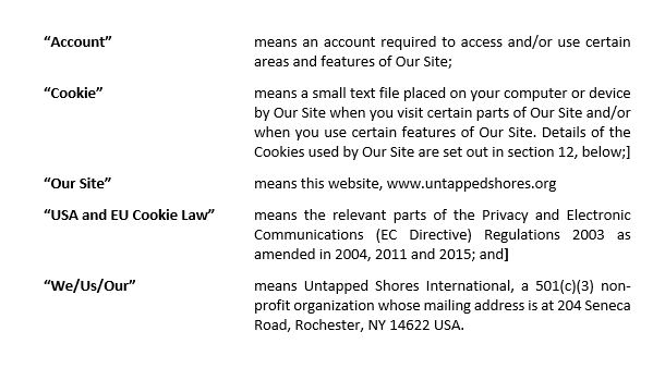 Untapped Shores International Privacy Policy Definition